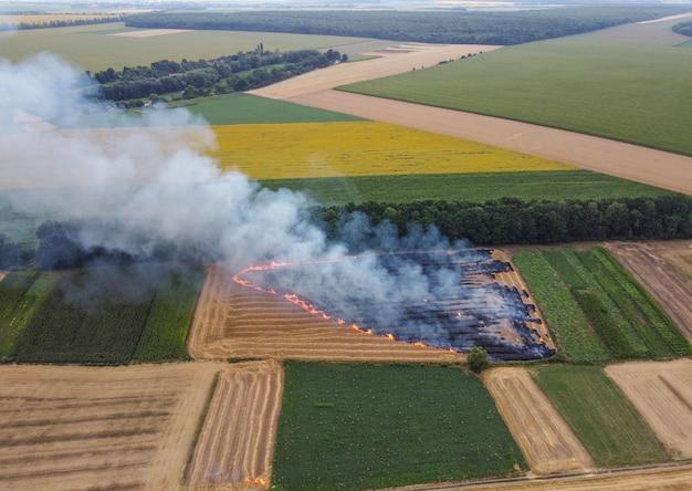 Roçada da palha queimada no campo, queima de resíduos de trigo, poluição do ar