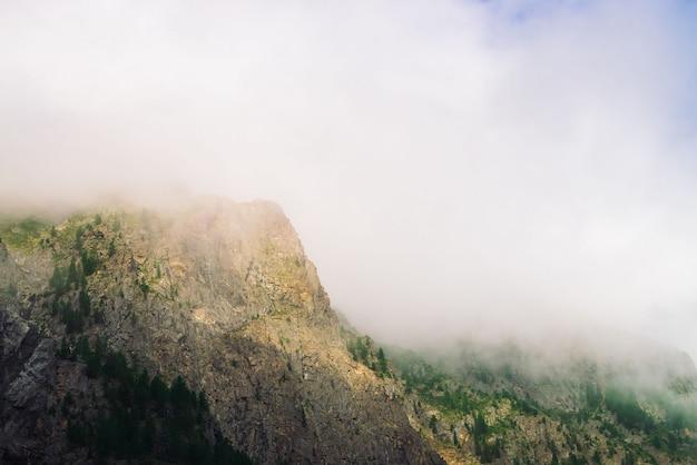 Rochas gigantes com as árvores na névoa da manhã perto acima. grande nuvem perto do topo da montanha. o sol da manhã brilha através da névoa. tempo nublado. natureza majestosa da paisagem atmosférica da montanha.