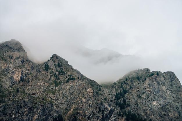 Rochas gigantes fantasmagóricas com árvores no meio do nevoeiro.