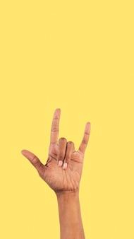 Rock n roll gesto com a mão