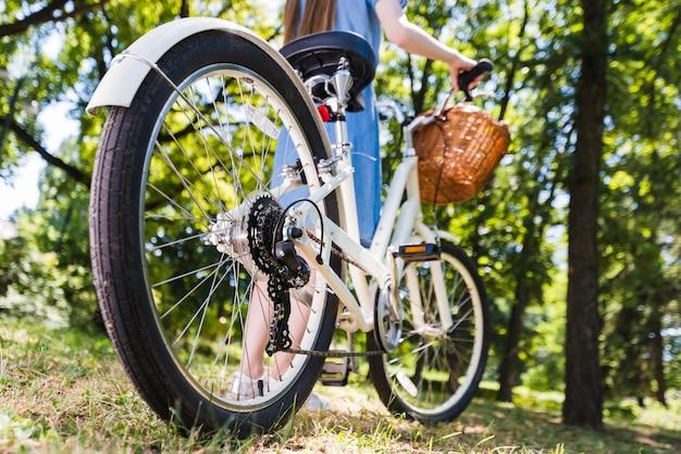 Roda de ângulo baixo de uma bicicleta