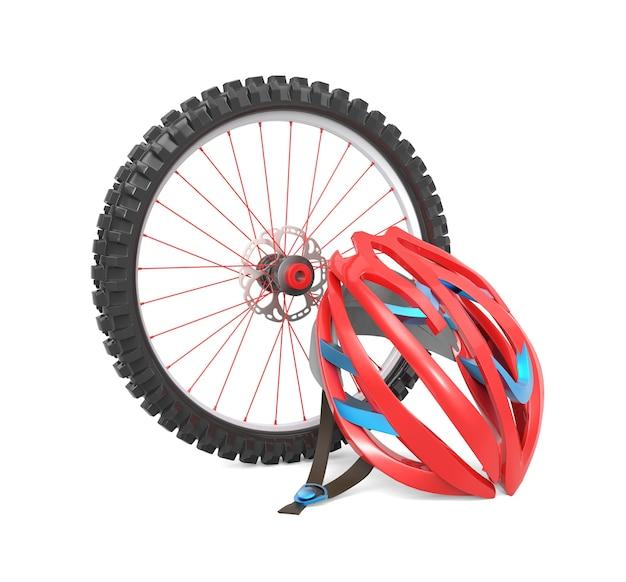 Roda de bicicleta e capacete vermelho isolados
