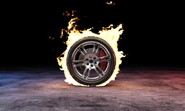 Roda de carro em fogo chama na escuridão de concreto