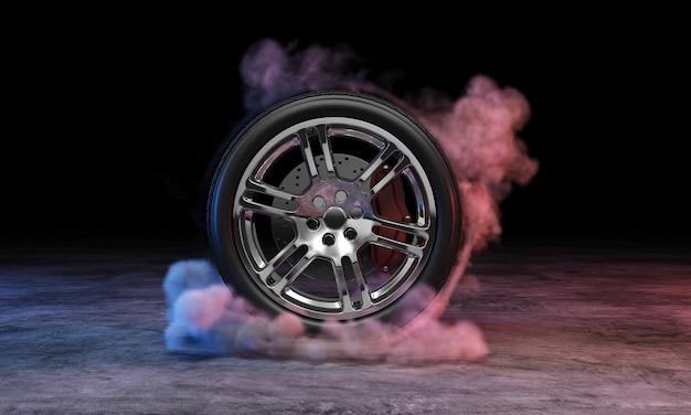 Roda de carro em fumaça no concreto escuro