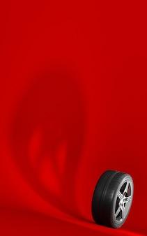 Roda de carro isolada em um fundo vermelho