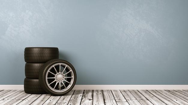Roda de carro na sala