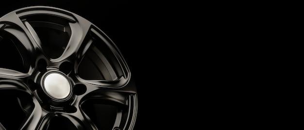 Roda de liga poderosa preta fosca para carros suv, espaço de cópia panorâmica, conceito longo.