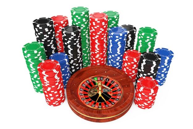 Roda de roleta com fichas de cassino de pôquer coloridas em um fundo branco. renderização 3d.