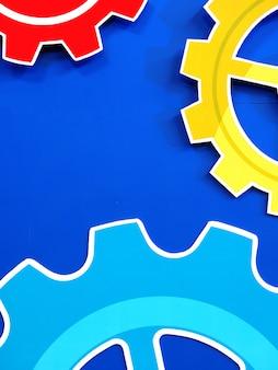 Roda dentada de rodas de engrenagem do motor grande fundo azul, fundo industrial