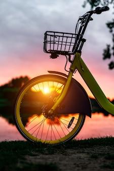 Roda dianteira de uma bicicleta amarela no lago. céu rosa pôr do sol