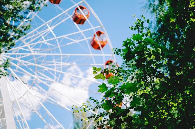 Roda gigante vermelha sobre céu azul e folhas verdes