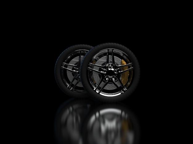 Rodas de automóveis em um fundo escuro com aros cromados closeup 3d render