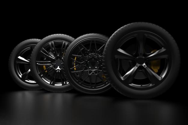 Rodas de automóveis em um fundo escuro com aros cromados renderização em 3d