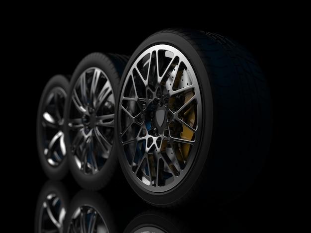 Rodas de automóveis em um fundo escuro