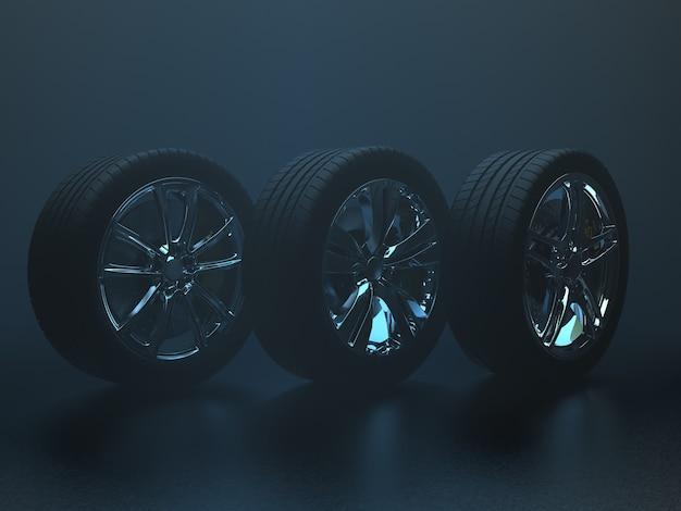 Rodas de automóveis em um fundo uniforme em uma renderização 3d clara