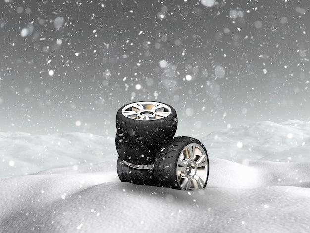 Rodas de carro 3d na paisagem de neve