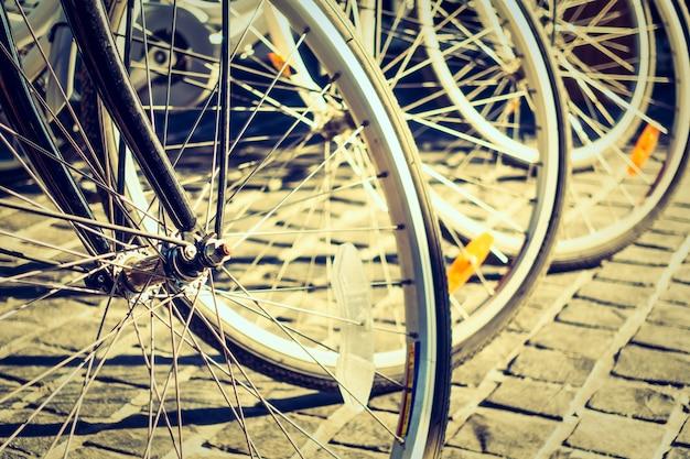 Rodas de desporto bicicleta andar do vintage