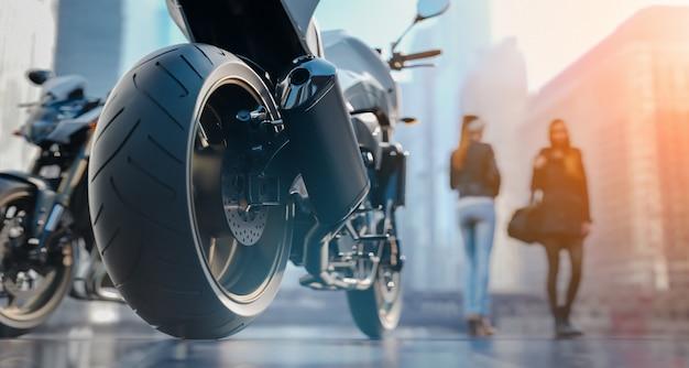 Rodas de motocicleta há uma mulher na cidade.3d redering e ilustração.