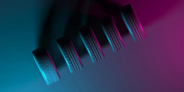 Rodas pretas em um fundo preto com iluminação neon na ilustração 3d