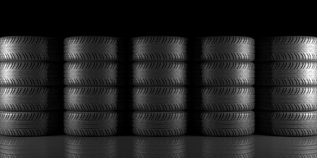Rodas pretas em um fundo preto na ilustração 3d