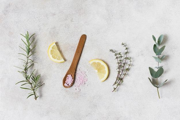 Rodelas de limão e várias folhas