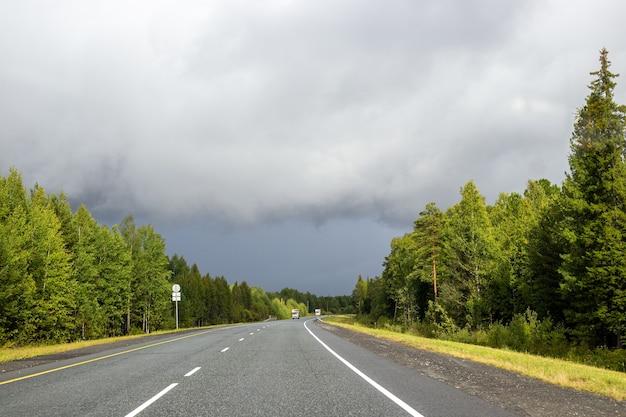 Rodovia com floresta ao lado da estrada em clima nublado de outono