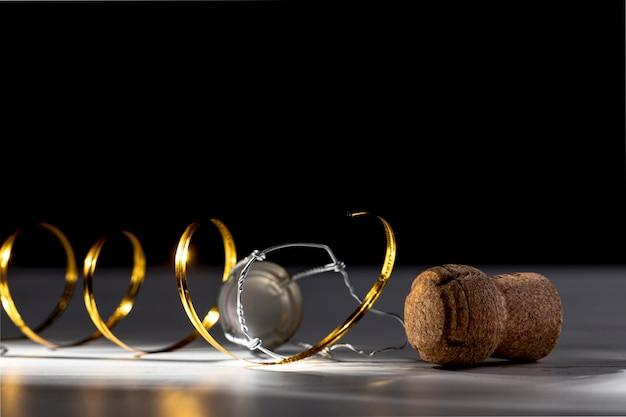 Rolha de garrafa de champanhe close-up