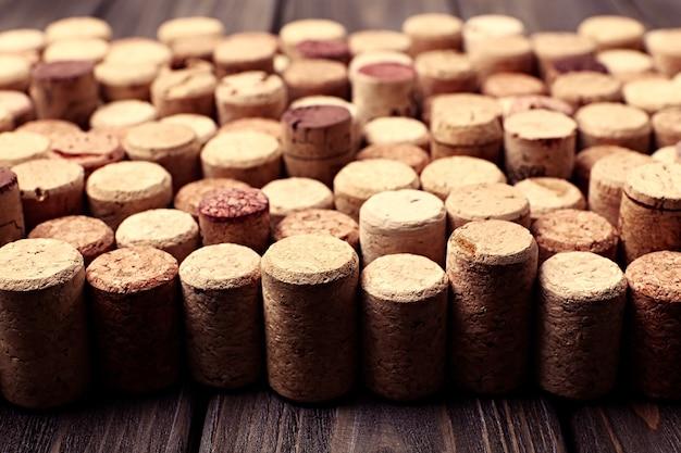 Rolhas de vinho de perto