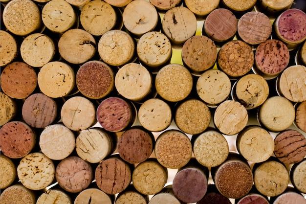 Rolhas de vinho tops closeup fundo