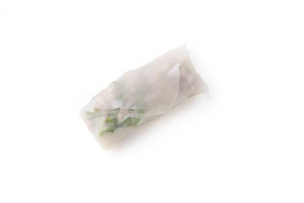 Rolinhos primavera de comida vietnamita com sombra no fundo branco isolado