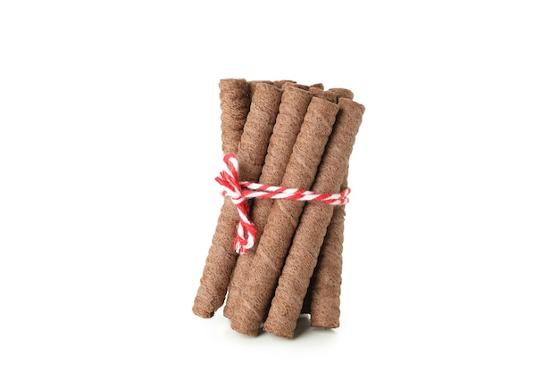 Rolo de bolacha de chocolate isolado no branco