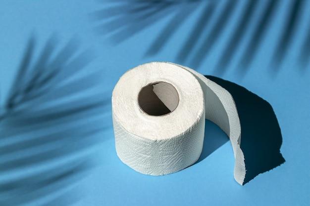 Rolo de papel higiênico branco isolado em um fundo azul sob a sombra de uma palmeira