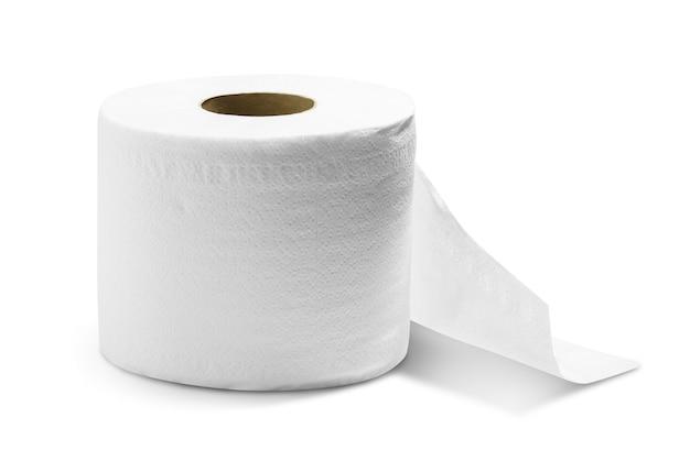 Rolo de papel higiênico isolado no fundo branco com traçado de recorte