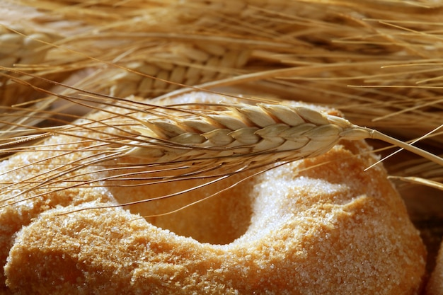 Rolo deliciosa padaria açúcar e trigo picos