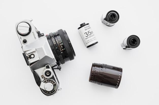 Rolos de filme perto da câmera