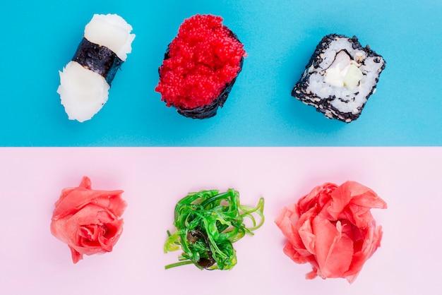 Rolos de sushi orgânicos