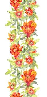 Romã, flores vermelhas, repetindo, floral, quadro, aquarela