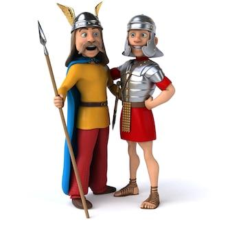 Romano e gália - ilustração 3d