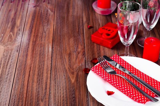 Romantic candle light configuração de mesa de dia dos namorados