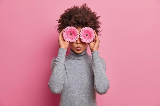 Romântica linda mulher de cabelos cacheados mantém gerberas rosa sobre os olhos, tem clima de primavera, vestida com uma blusa cinza casual de gola alta, vai fazer buquê de flores