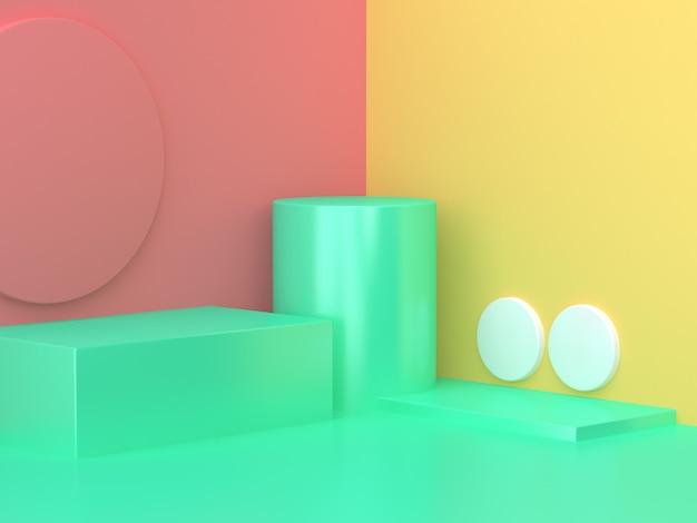 Rosa amarelo verde abstrato canto fundo mínimo renderização em 3d