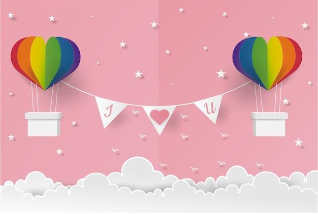 Rosa do orgulho do coração do balão