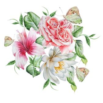 Rosa. hibiscus. lírio. borboleta. ilustração em aquarela. desenhado à mão.