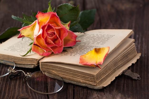 Rosa laranja com livro velho e óculos