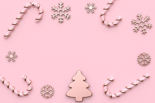 Rosa metálico brilhante-rosa ouro natal rosa renderização em 3d