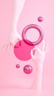 Rosa pastel abstrato com gesto de mão ok, tecido e esferas. amarre o modelo de banner vertical, espaço para texto. composição surreal na moda.