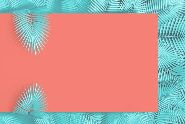 Rosa pastel abstrato e fundo azul de um retângulo vazio e de muitas folhas de palmeira no fundo. ilustração 3d. renderização 3d