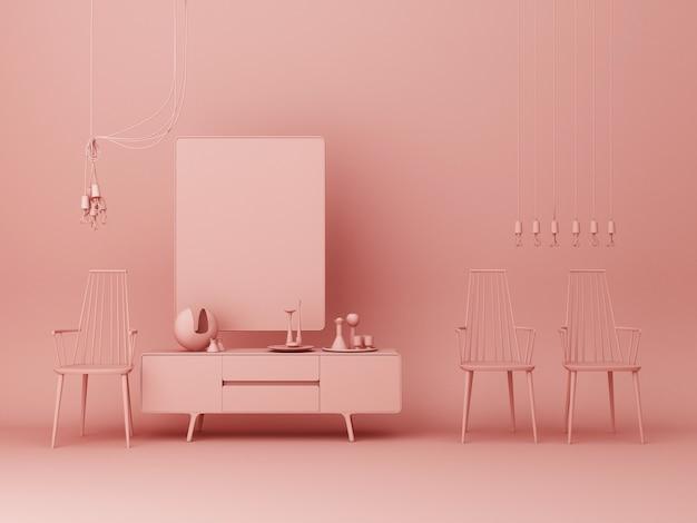 Rosa pastel console e obras de arte em torno de decorações e cadeira renderização em 3d