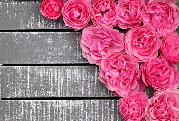 Rosa rosa terry em um cinza de madeira