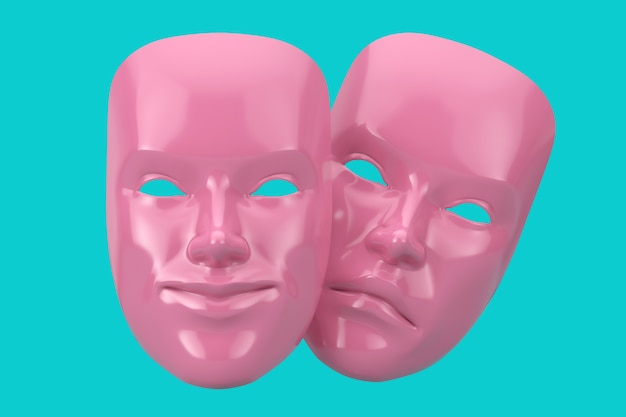 Rosa sorrindo comédia e máscara de teatro grotesco de drama triste em estilo duotônico sobre um fundo azul. renderização 3d